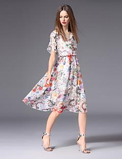 Χαμηλού Κόστους Γυναικεία Φορέματα-Γυναικεία Βασικό Γραμμή Α Φόρεμα - Φλοράλ, Με Βολάν / Στάμπα Ως το Γόνατο