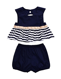 billige Babytøj-Baby Pige Blå & Hvid Ensfarvet / Stribet Uden ærmer Tøjsæt