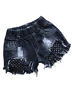 billige Bukser og leggings til piger-Børn Pige Blå & Hvid Ensfarvet Shorts