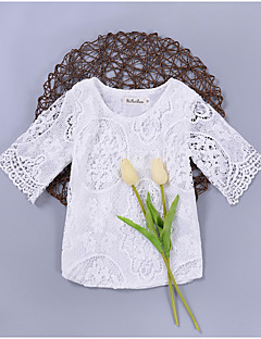 billige Babyoverdele-Baby Pige Ensfarvet 3/4-ærmer Bluse