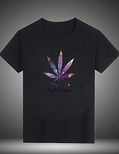 baratos Liquidação-US-Homens Camiseta Básico Floral / Letra Algodão Decote Redondo / Manga Curta