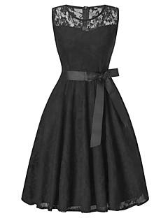billige Vintage-dronning-Dame Vintage / Basale A-linje / Skede Kjole - Ensfarvet, Blonder / Udhulet / Sløjfer Knælang