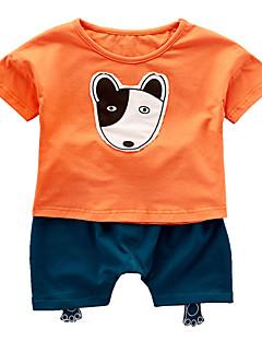 billige Sett med babyklær-Baby Unisex Hund Patchwork Kortærmet Tøjsæt