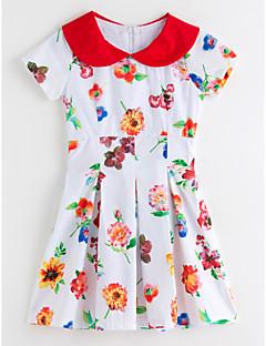 Χαμηλού Κόστους Πώληση-Κορίτσια Φόρεμα Πολυεστέρας Φλοράλ Καλοκαίρι Κοντομάνικο Λουλουδάτο Λευκό