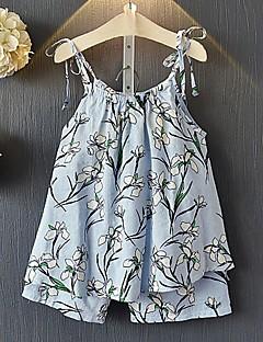 billige Tøjsæt til piger-Børn Pige Blomstret Farveblok Kortærmet Tøjsæt