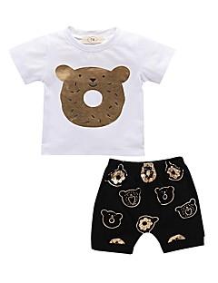 billige Tøjsæt til piger-Baby Unisex Trykt mønster Kortærmet Tøjsæt
