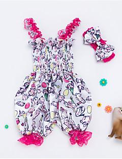 billige Babytøj-Baby Pige Trykt mønster Uden ærmer En del