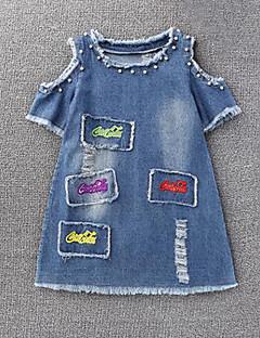 billige Pigekjoler-Børn Pige Geometrisk Kortærmet Kjole
