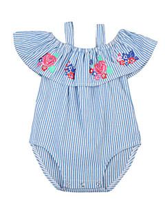 billige Babytøj-Baby Pige Stribet Blomstret Kort Ærme Bodysuit