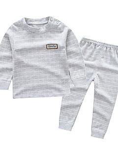billige Sett med babyklær-Baby Unisex Ensfarvet Stribet Langærmet Tøjsæt