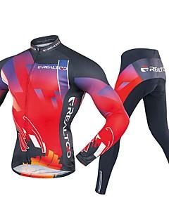 billige Sykkelklær-Realtoo Herre Langermet Sykkeljersey med tights - Svart / Rød Sykkel Klessett, 3D Pute Polyester, Spandex Geometrisk / Elastisk