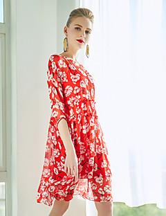 Χαμηλού Κόστους ZIYI-Γυναικεία Εξόδου Μετάξι Φαρδιά Swing Φόρεμα - Γεωμετρικό Πάνω από το Γόνατο