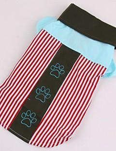 billiga Hundkläder-Hund / Katt / Husdjur T-shirts Hundkläder Randig / Tryck / Färgblock Blå / Rosa Cotton Kostym För husdjur Dam Unik design / Randig