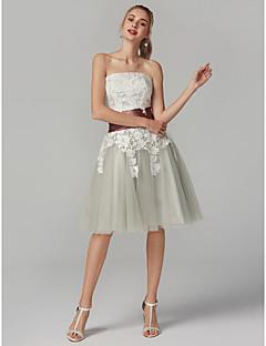 billiga Balklänningar-A-linje Axelbandslös Telång Satäng / Spets på tyll Färgblock Cocktailfest / Bal Klänning med Spets av TS Couture®