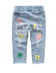 billige Jeans til piger-Børn Pige Blomstret / Geometrisk Jeans