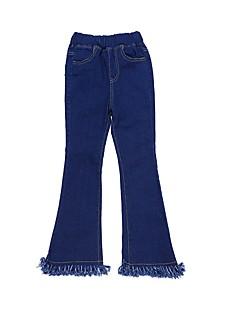 billige Bukser og leggings til piger-Børn Pige Ensfarvet Uden ærmer Jeans