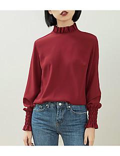 billige Skjorte-Dame - Ensfarvet Drapering / Flettet / Patchwork Skjorte