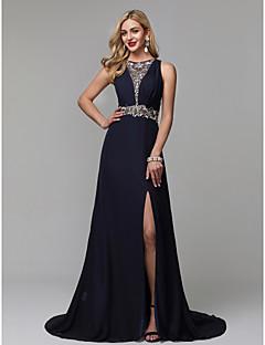 billiga Aftonklänningar-A-linje Prydd med juveler Svepsläp Chiffong Formell kväll Klänning med Bård av TS Couture® / Genomskinlig