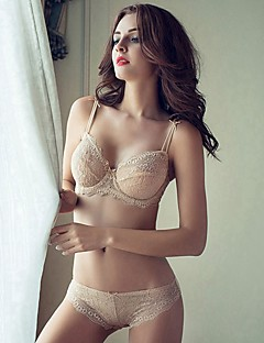 billige Dame-brystholdere-Kvinner Sexy Sett med truse og BH Dytt opp / Blonde-BH / BH med bøyler 1/2-kopp - Ensfarget