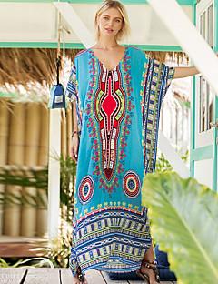 Χαμηλού Κόστους Φορέματα Boho-Γυναικεία Σε γραμμή Α Φόρεμα Μακρύ Λαιμόκοψη V