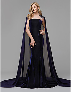 cheap Special Occasion Dresses-Mermaid / Trumpet Jewel Neck Court Train Chiffon / Velvet Formal Evening / Black Tie Gala Dress with Beading / Appliques by TS Couture®