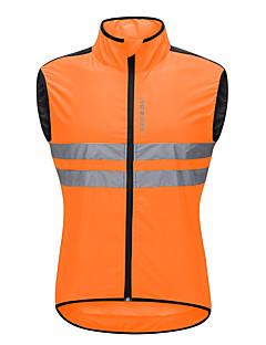 billige Sykkeljerseys-WOSAWE Herre Ermeløs Sykkelvest - Oransje Sykkel Vest / Jersey, Vindtett, Refleksbånd