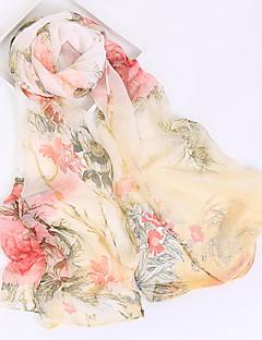 baratos Cachecol Feminino-Mulheres Raiom / Poliéster, Retângular - Com Transparência Floral / Todas as Estações