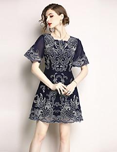 billige Kjoler til nyttårsaften-Dame Vintage / Sofistikert A-linje Kjole - Blomstret, Broderi Mini