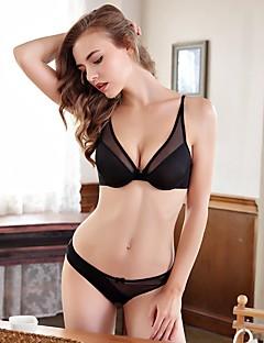 billige Dame-brystholdere-Kvinner Sexy Sett med truse og BH Dytt opp / Blonde-BH / BH med bøyler 3/4 Kop - Ensfarget