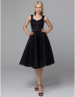 billiga Cocktailklänningar-A-linje remmar Knälång Satäng / Tyll Den lilla svarta Cocktailfest / Bal Klänning med Krusad av TS Couture®