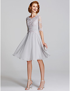 A Line Scoop Neck Knee Length Chiffon Lace Mother Of The Bride Dress With Liques Pleats By Lan Ting Illusion Sleeve See Through