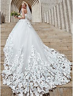 billiga Balbrudklänningar-Balklänning Axelbandslös Katedralsläp Tyll Bröllopsklänningar tillverkade med Kristalldetaljer / Blomma av LAN TING BRIDE® / Brudklänning i färg