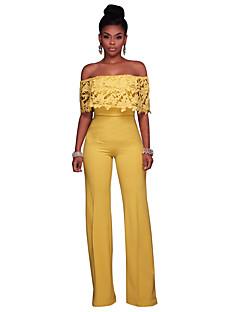 tanie Kombinezony damskie-Damskie Wyjściowe Kombinezon - Solidne kolory, Koronka Z odsłoniętymi ramionami Spodnie szerokie nogawki