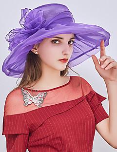 billige Hatter til damer-Dame Fest / Ferie Bøttehatt / Solhatt / Stråhatt - Drapering, Lapper
