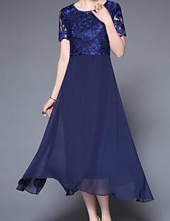Χαμηλού Κόστους Φορέματα Μεγάλα Μεγέθη-Γυναικεία Βασικό Θήκη Φόρεμα - Μονόχρωμο / Φλοράλ Μίντι