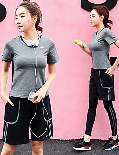 billiga Träning-, jogging- och yogakläder-Dam Yoga Suit - Grå, Purpur, Rosa sporter Klädesset Motion & Fitness Kortärmad Sportkläder Torkar snabbt Elastisk