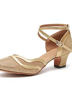 hesapli -Kadın's Modern Dans Ayakkabıları Patentli Deri Topuklular Fırfır Küba Topuk Dans Ayakkabıları Altın / Kahverengi