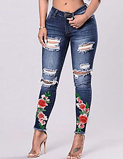 cheap Women's Pants-Women's Street chic Skinny Jeans Pants - Floral / Embroidered Hole / Ripped / Going out / Embroidery