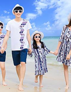 billige Sett med familieklær-Familie Look Fargeblokk Kortermet Kjole