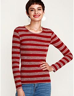 お買い得  レディースファッション&ウェア-女性用 Tシャツ ベーシック ストライプ コットン
