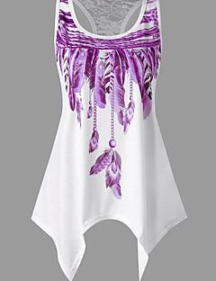 billige Tanktoppe & små toppe til kvinder-Dame - Ensfarvet / Geometrisk Trykt mønster Basale / Gade T-shirt