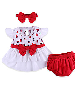 cheap Baby's Clothing Set Sale-Baby Girls' Street chic Daily Geometric Bow Short Sleeve Regular Cotton / Spandex Clothing Set Red / Toddler