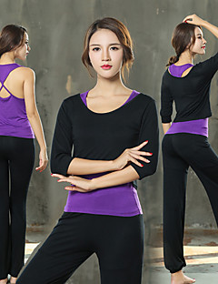 cheap Fitness, Running & Yoga Clothing-Women's Yoga Suit - Black, Purple, Black / White Sports Spandex Clothing Suit Pilates, Exercise & Fitness Half Sleeve Plus Size Activewear Breathability Stretchy