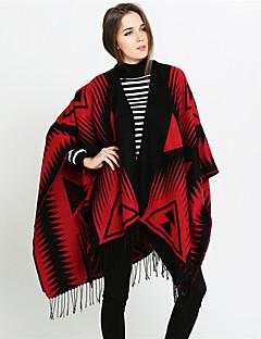 baratos Cachecóis da Moda-Mulheres Básico / Férias Retângular - Franjas Estampado Preto e Vermelho