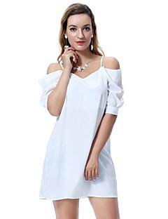 baratos Vestidos-Mulheres Camisa Vestido Sólido Mini / Acima do Joelho