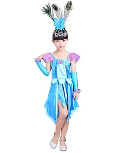 billige Halloweenkostymer-Prinsesse Kostume Jente Barn Halloween Halloween Karneval Barnas Dag Festival / høytid Halloween-kostymer Drakter Turkis Ensfarget Halloween