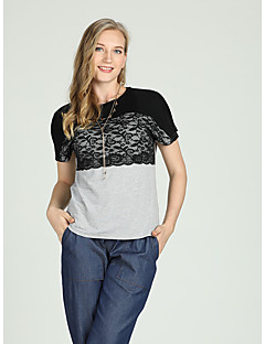 Χαμηλού Κόστους Γυναικείες Μπλούζες-Γυναικεία T-shirt Ενεργό / Βασικό Συνδυασμός Χρωμάτων Δαντέλα Μαύρο και γκρι
