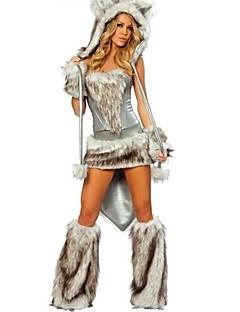 billige Halloweenkostymer-Dyremønster Cosplay Kostumer Hodeplagg Kostume Dame Jente Dyredesign Halloween Halloween Karneval Festival / høytid Drakter Grå Lapper