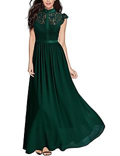baratos Vestidos de Festa-Mulheres Festa / Para Noite Elegante balanço Vestido - Renda, Sólido Gola Redonda Longo
