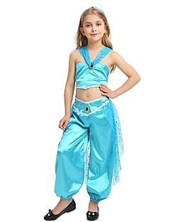 billige Halloweenkostymer-Princess Jasmine Kostume Jente Halloween Karneval Barnas Dag Festival / høytid Halloween-kostymer Drakter Turkis Ensfarget Halloween Halloween